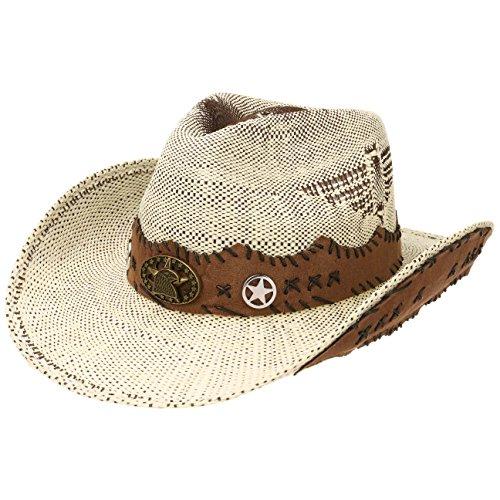Lipodo Talico Cowboyhut Strohhut Westernhut Sommerhut Strandhut Sonnenhut Hut für Damen Herren Frühjahr Sommer (M (56-57 cm) - cremeweiß)