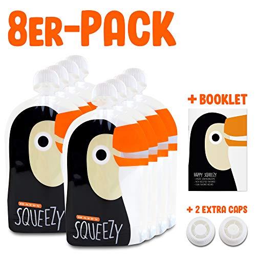 Happy Squeezy 8 bolsas bolsas comida bebés reutilizables