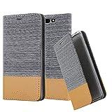 Cadorabo Hülle für Xiaomi Black Shark - Hülle in HELL GRAU BRAUN – Handyhülle mit Standfunktion und Kartenfach im Stoff Design - Case Cover Schutzhülle Etui Tasche Book