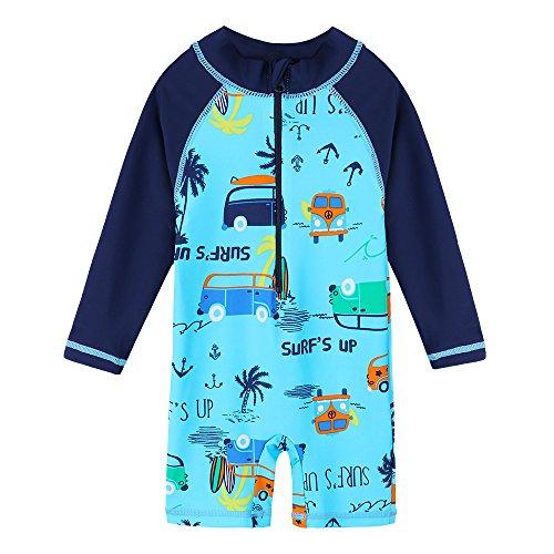 HUAANIUE Kinder Badeanzug Ärmeln Bademode Badekleidung für Schwimmen Schwimmsportbekleidung UPF 50+ UV-Schutz 0-6 Jahre