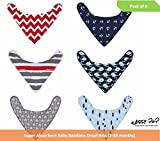 #4: Square Baby Bandana Drool Bibs Adjustable Size, Soft Material, Super Adsorbing, Pack Of 6