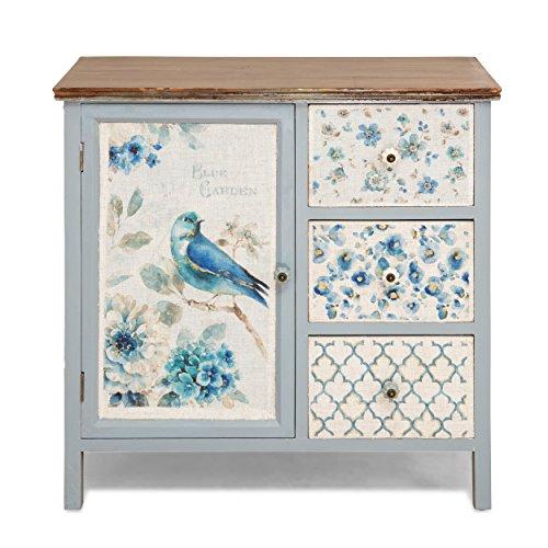 Soidea Armoire en Bois pour Le Salon décoratifs avec Painted Bird Motif Style Shabby Chic élégant Qui Excellent dans n'importe Quelle pièce Petite 39 x 22 x 33 cm
