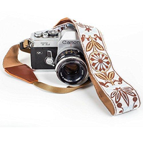 Weiß Gewebt Vintage Kameragurt Gürtel für Alle DSLR Kamera - Elegant Universal DSLR Gurt, Blumenmuster Nacken Schulter Kameragurt für Canon, Nikon, Sony, Fujifilm und Digitalkamera