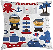 Ahoy Its a Boy Throw Pillow Cushion Cover, Sea Theme Objects Collection Fishes Ship Lighthouse Sailors Octopus, Decorative S
