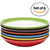 Boles de pasta de cerámica premium, plato de ensalada, plato para comidas colorido, juego de 6