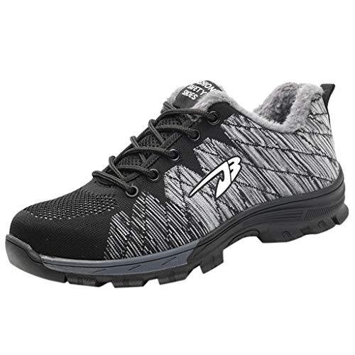 Poamen Paar Sicherheitsstiefel Anti-Piercing Arbeitsstiefel Fashion Warm Baumwolle Schuhe Mesh Atmungsaktiv Leichte Schuhe, Schwarz - F - Größe: 43.5 EU