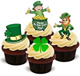 ST PATRICKS DAY MIX 1-12 Edible Stand Up Premium Wafer Cake Toppers - MEZCLA DIA DE SAN PATRICIO 12 Decoraciones comestibles de oblea para magdelenas