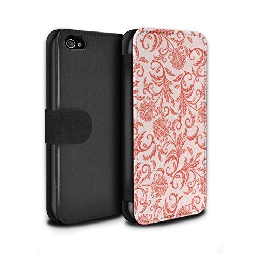 Stuff4 Coque/Etui/Housse Cuir PU Case/Cover pour Apple iPhone 4/4S / Fleurs Jaunes Design / Fleurs Collection Fleurs Rouges