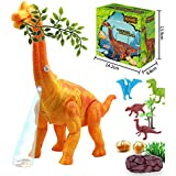 "Electronic Dinosaur Toys,14"" Large Realistic Brachiosaurus Toy Dinosaur Walking Toys With Egg Laying Lights Sounds Function For Boys (Orange)"