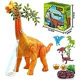 "Electronic Dinosaur Toys,14"" Large Realistic Brachiosaurus Toy Dinosaur Walking Toys With Egg Laying Lights Sounds Function For Boys (Orange)"