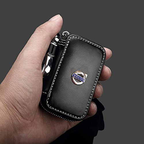 OPAYIXUNGS Volvo logo Leather Car Key Holder Case Key Chain Coin Purse