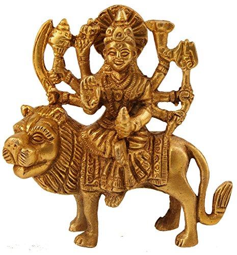 Shalinindia Durga Hindu Göttin Religiöse Statue Messing Figuren