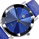 DOGZI Herren Armbanduhr, Uhren Sport Uhr Luxus Armbanduhren - Männer Luxus Edelstahl Quarz Military Sport Lederband Zifferblatt Armbanduhr (Blau)