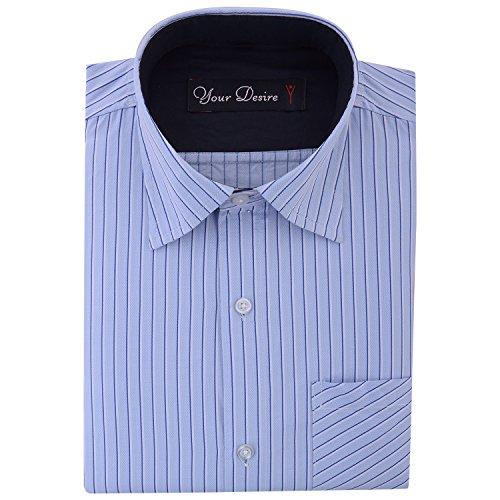 Your Desire Shirts Men Cotton Navy Blue Formal Shirt (Size 40)