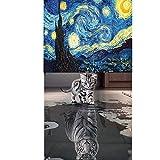 2Packungen 5D DIY Diamant-Gemälde von Nummer Kits, Full Kristall Rhinestone Starry und Katze und Tiger Gemälde Bilder Arts Craft für Home Wand-Dekor, Starry Sky 40* 40cm