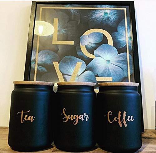 Tea Coffee Sugar labels, kitchen storage stickers, copper vinyl decal