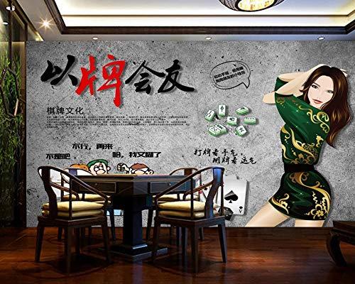 Lyqyzw Chinesische Art Mahjong-Kultur-Freizeit-Unterhaltungs-Schach-Raum-Wandhintergrund-KundenspezifischeTapete DesSchach-Raum-3D 310X210Cm
