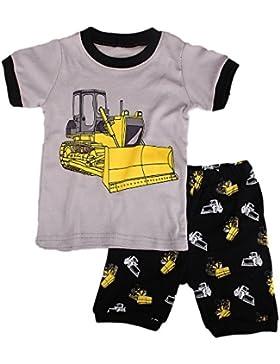 Backbuy Chicos Pijamas Sets Niños Verano 2 Piezas Pijamas Niños 100% Algodón Manga corta Excavadora Baby Sleepwear...