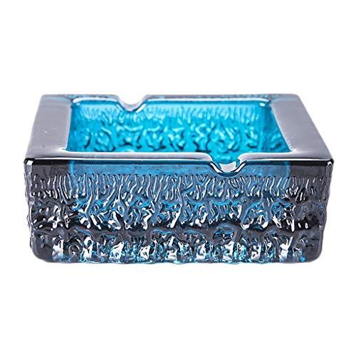 e Bunte Glas Aschenbecher Persönlichkeit Mode Aschenbecher Home Office Boutique Dekoration Geschenk Tragbare Aschenbecher (Color : Blue, Größe : 14 * 14 * 5cm) ()