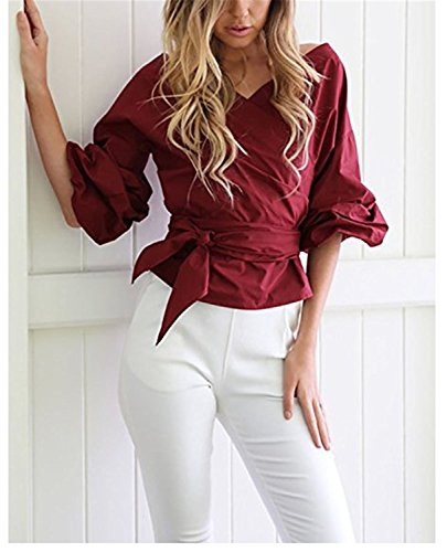 SHUNLIU Damen V-Ausschnitt Langarm Trägerlos Unregelmäßig Hemd Bluse T-Shirt Oberteile Frauen Weinrot