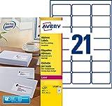 Avery L7160 Boîte de 840 Etiquettes Autocollantes (21 par feuille) - 63,5 x 38,1mm - Impression Laser - Blanc...