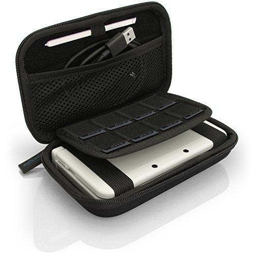igadgitz Schwarz EVA Hart Tasche Schutzhülle fur Neu Nintendo 3DS XL (Alle Versionen) & 2DS XL 2017 Etui Case Cover mit Tragegurt