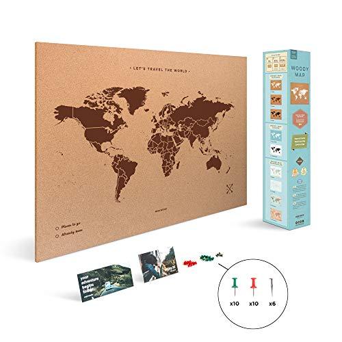 Miss Wood Map XL - Mapa del mundo de corcho