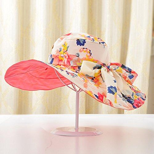 Chapeau de soleil d'été Femme plage chapeau Protection solaire de printemps et d'été Anti-UV Génial le long de plein air Pliable chapeau de soleil chapeau de soleil Pour les voyages de plage sortants  6