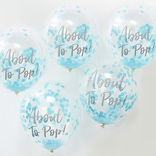 Ginger Ray Babyshower Babyparty about to pop Luftballon Konfetti 5 Stck. blau - Pops Cake Shower Baby