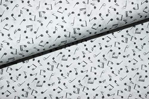 LajaW Designerbaumwolle Noten Vintage weiß/grau | 24,80 €/m | 1,05 Meter breit | Wird in 0,1 Metereinheiten verkauft