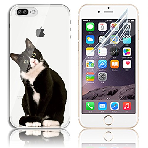 iPhone 7 Plus Silikon Hülle,iPhone 7 Plus Hülle,Sunroyal TPU Case Schutzhülle Silikon Crystal Kirstall Clear Case Durchsichtig,Cute Lovely Funny China Panda Ballon Malerei Muster Transparent Weichem S Pattern 03