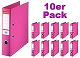 Esselte Plastik 10 Ordner Standard, DIN A4, 75 mm, pink (fuchsia)