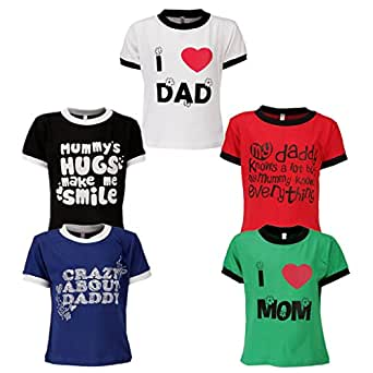 Goodway Boys Pack of 5 Mom and Dad Theme Printed T-shirts(JB5PCKM&D-1-4-5y_Multicolor_4-5Years)