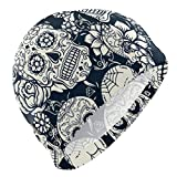 Gebrb Gorro de Baño/Gorro de Natacion, Men's Swim Cap Sugar Skull Flower Anti-Slip Waterproof Comfy Swimming Caps