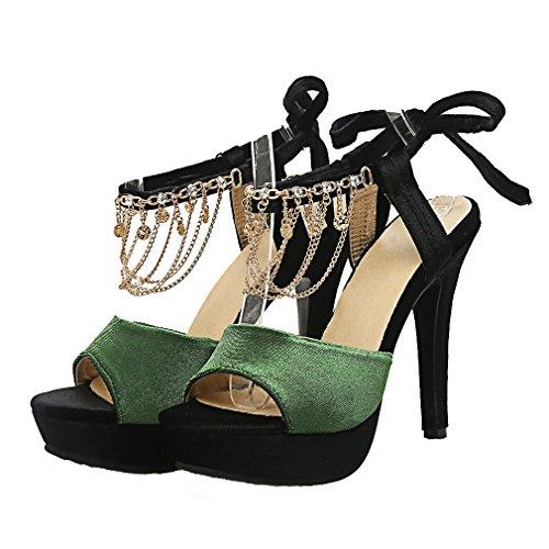 YE Damen Offen Wildleder Stiletto High Heel Plateau Sandalen mit 12cm Absatz und Kristall Party Schuhe Grün