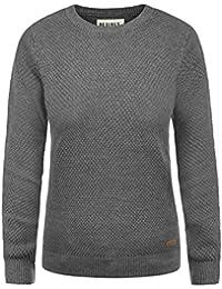 445d854fcb92 DESIRES Sarah Damen Strickpullover Feinstrick Pullover Mit Rundhals Und  Waffelstrick-Muster