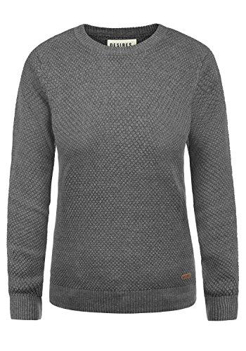 DESIRES Sarah Damen Strickpullover Feinstrick Pullover Mit Rundhals Und Waffelstrick-Muster, Größe:M, Farbe:Med Grey Melange (8254) -