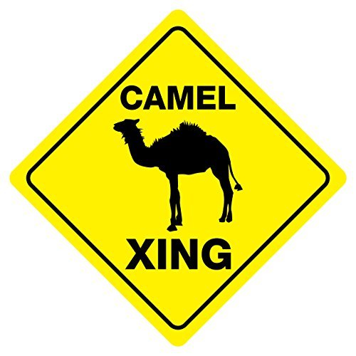 CAMEL CROSSING Funny Novelty Sign 12x12 by cheapyardsigns -