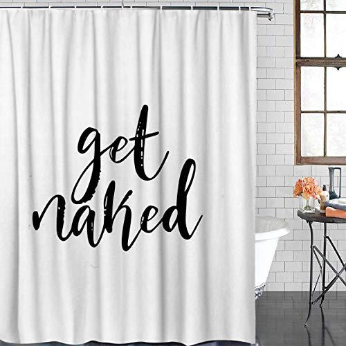 Z&L Home Weiß Vorhänge Dusche Badezimmer Decorations-Get Naked Schwarz Script Duschvorhang mit Haken Polyester Stoff 48x72Inches Weiß (Dusche Vorhang Haken Weiß)