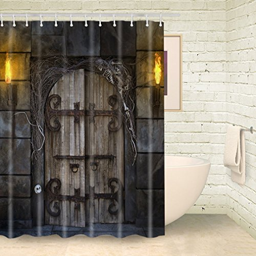 CHATAE Halloween Euro Castle Stoff Duschvorhang Set historischen Gate Stein Wand Gothic Bad Dekor mit Haken Schimmelresistent wasserabweisend (177,8cm W x 177,8cm MULTI3)