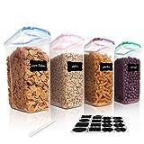 Vtopmart 4L Große Vorratsdosen Set,Müsli Schüttdose & Frischhaltedosen, BPA frei Kunststoff Vorratsdosen luftdicht, Satz mit 4 + 24 Etiketten und Stifte für Getreide, Mehl, Zucker usw.