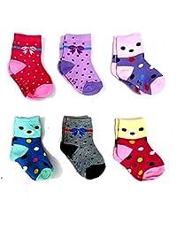 Krystle Boy's|Girl's Kids Cotton Printed Socks (Pack Of 6)