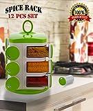 Bagonia Ankur Revolving Spice Rack Masala Box, Masala Rack,Jar, 12 pcs Condiment Set, Plastic Jars (Color May Vary)