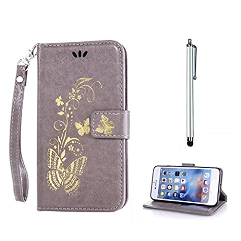 KSHOP d'accessoire pour Sony Xperia M4 Aqua Wallet Case Coque Etui PU Cuir Portefeuille Housse [Fermeture magnétique] [Slots de cartes] Résistant aux Rayures Shell - Bronzage Papillon Gris + Stylet Pen