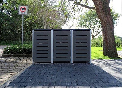 *3 Mülltonnenboxen Modell No.6 Anthrazitgrau für 240 Liter Mülltonnen / witterungsbeständig durch Pulverbeschichtung / mit Klappdeckel und Fronttür*