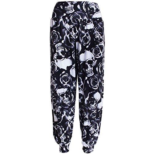 Janisramone Donne Harem stampato ali baba pantaloni pantaloni stretch dimensioni 8-26 Cranio Rosa