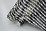 4,9€/m² 2D Carbon Folie Auto Folie - SCHWARZ 2D glanz - 200 x 152 cm blasenfrei selbstklebend flexibel Car Wrapping Folie Auto folieren