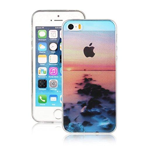 MOONCASE iPhone 5 Coque, Ultra Mince Motif Etui TPU Silicone Antichoc Housse Case pour iPhone 5 / 5s / SE (Paysage 10) Paysage 07