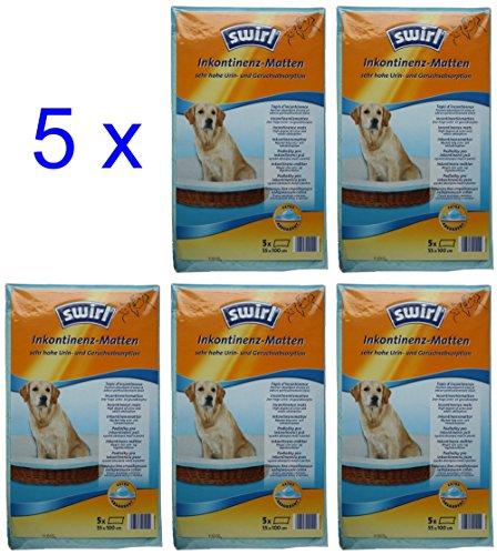 5 Packungen Swirl Inkontinenzmatten à 5 Inkontinenz-Matten = 25 Stück - 55x100 cm