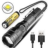 Segunda generación de linterna de Zoomable Evolva Future Technology Linterna recargable F1 USB Mini Pocket Torch (Linterna F1 (antorcha y batería))
